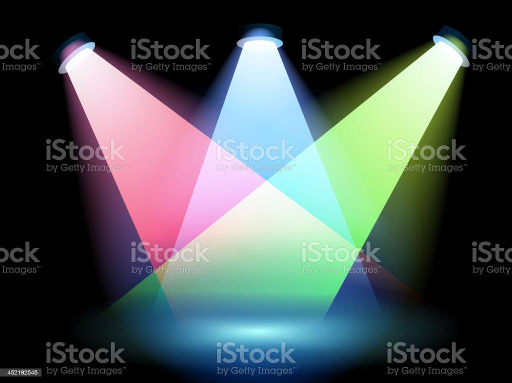Three colorful spotlights royalty-free stock vector art