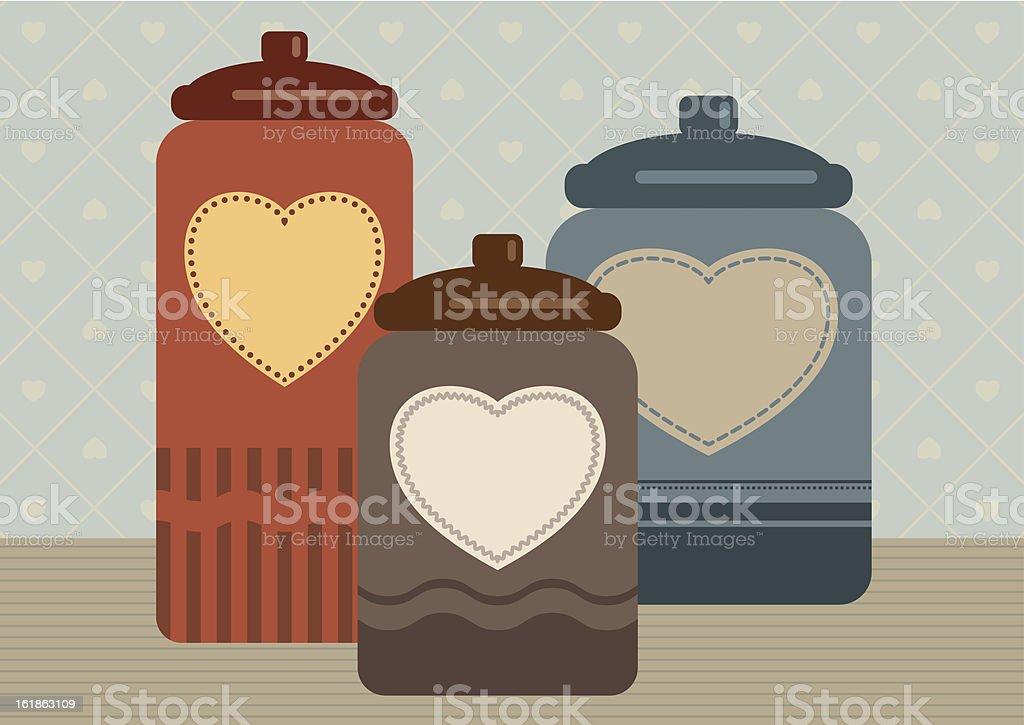 Three cookie jars with hearts vector art illustration