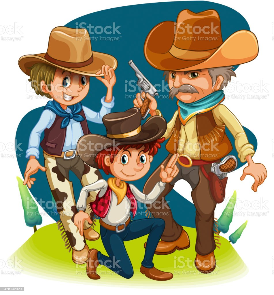 Three cowboys in different positions royalty-free stock vector art