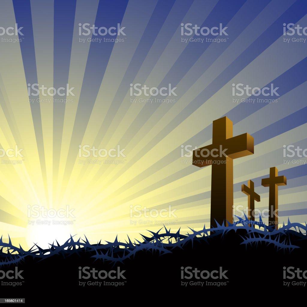 Three Crosses in Golgotha royalty-free stock vector art