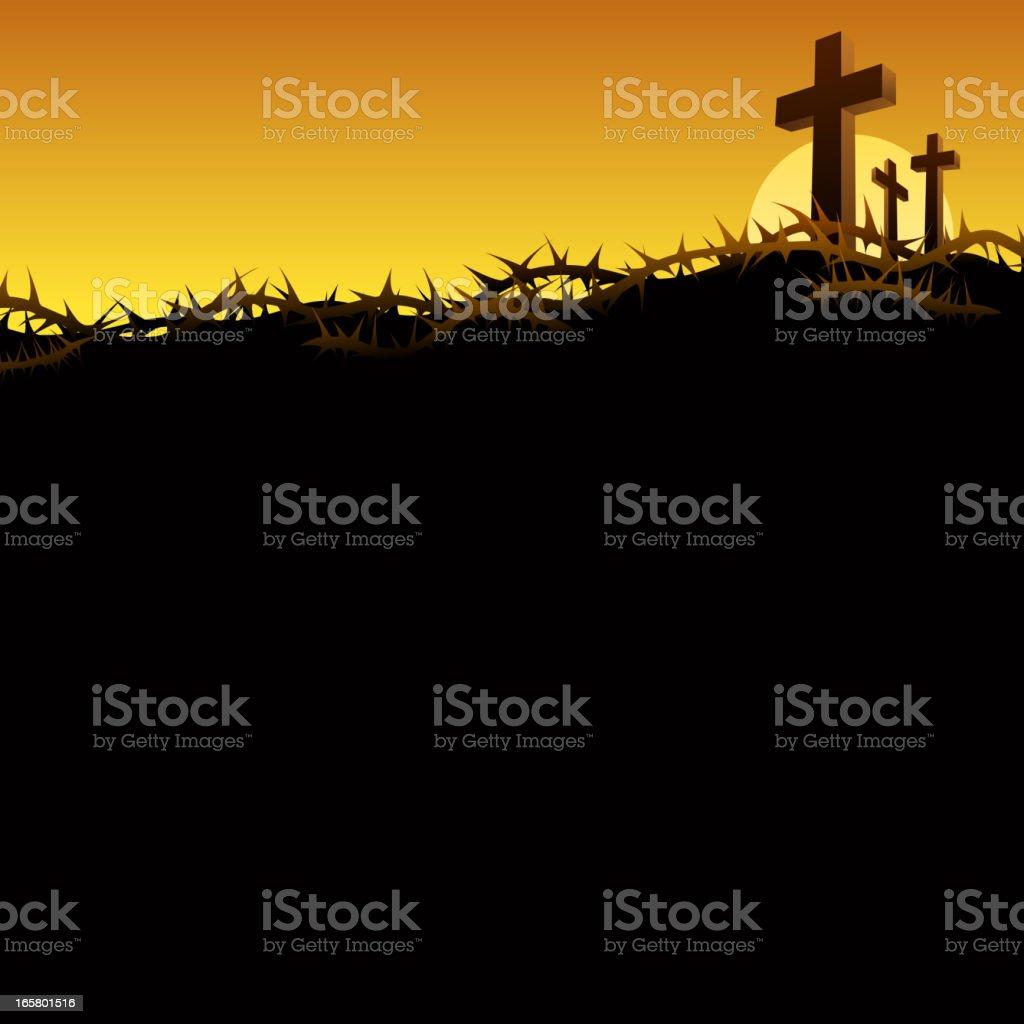 Three Crosses in Golgotha vector art illustration