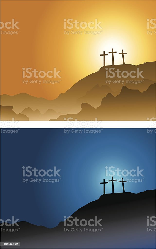 three crosses on the hill... vector art illustration