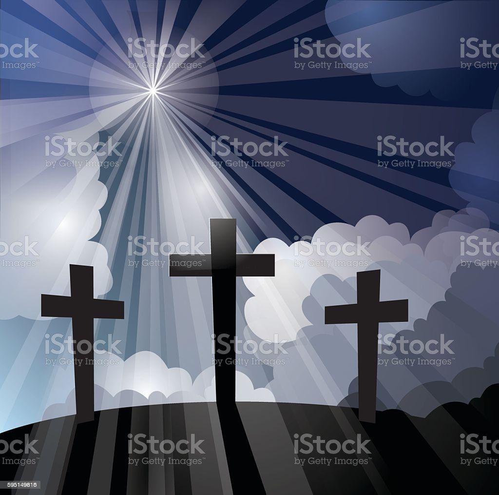 Three Crosses with Light Rays vector art illustration