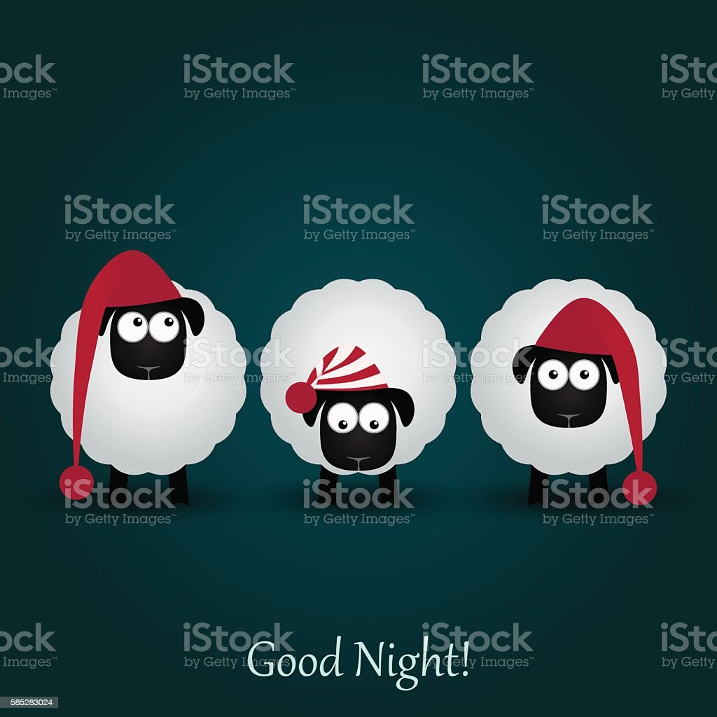 Three cute cartoon sheeps in funny hats. Good night. vector art illustration
