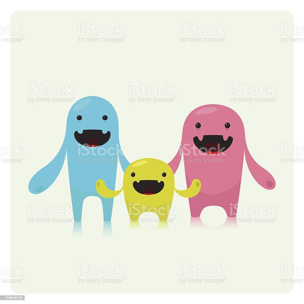 Three Cute Funny Vector Characters Family royalty-free stock vector art