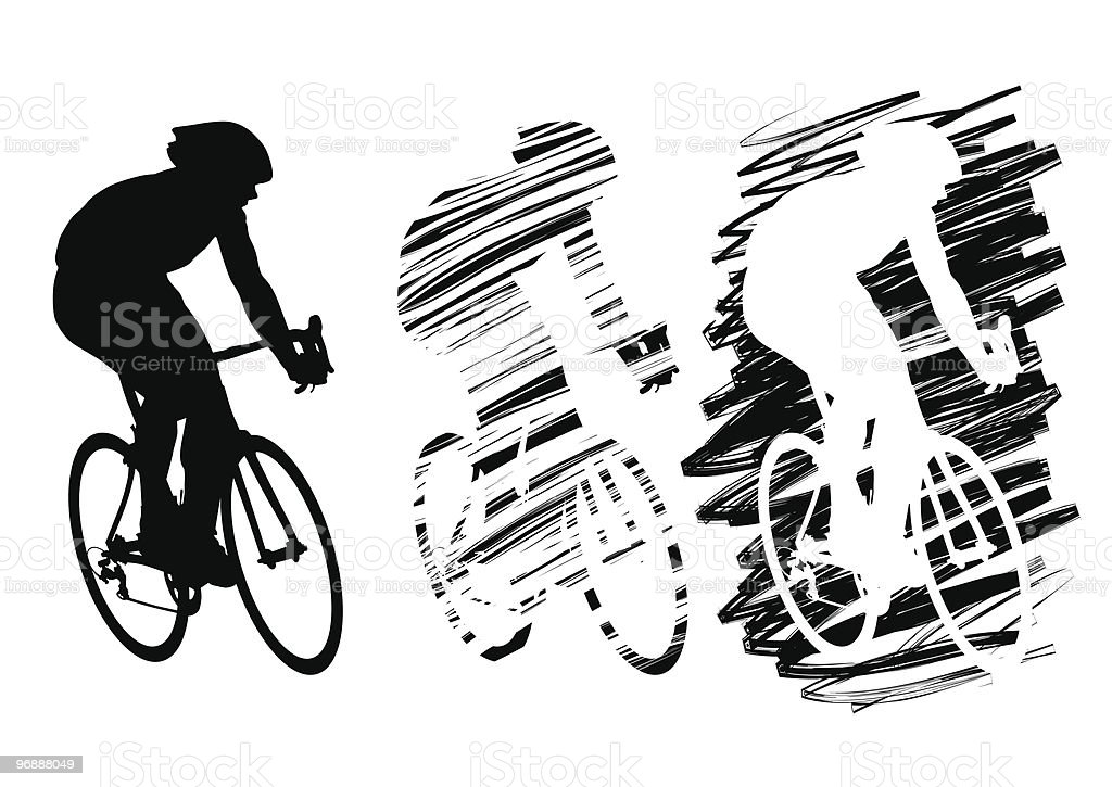 Three cyclist in motion royalty-free stock vector art