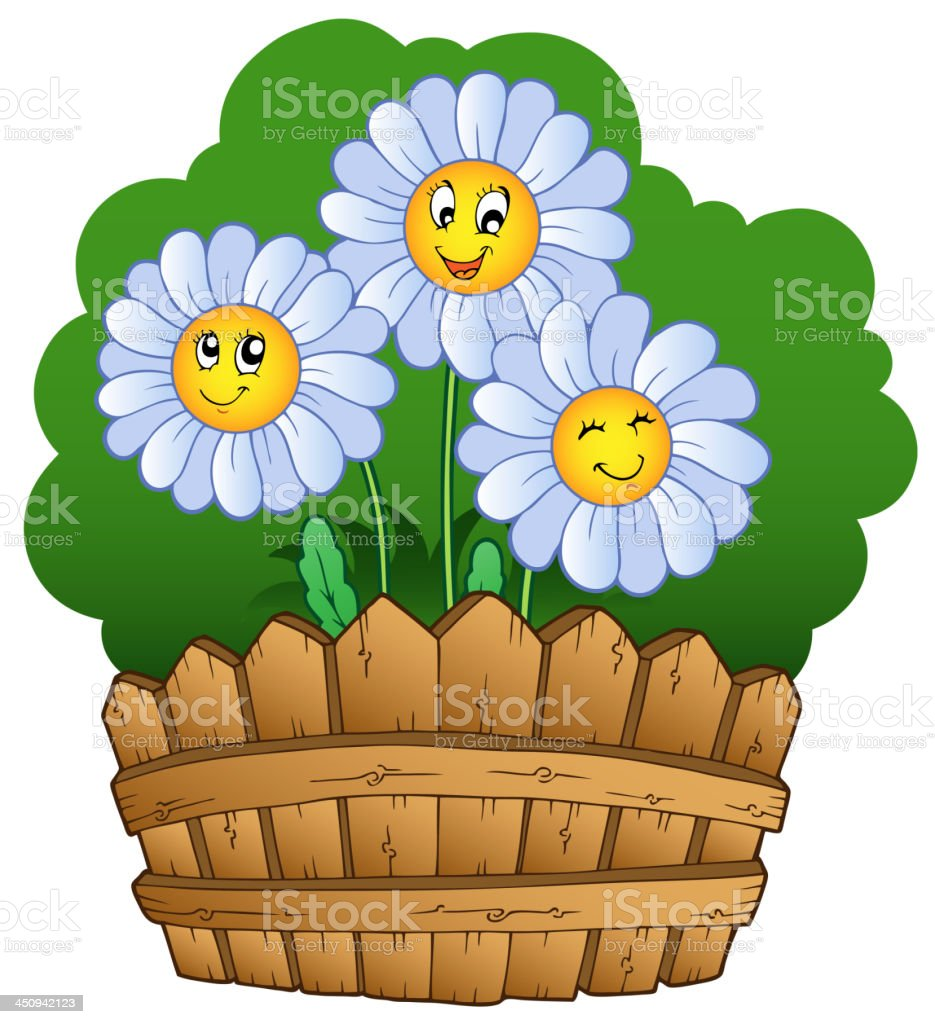 Three daisies with fence royalty-free stock vector art