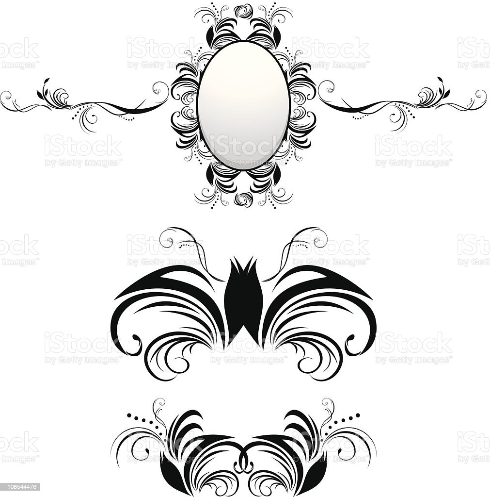 Three decorative elements for decor royalty-free stock vector art