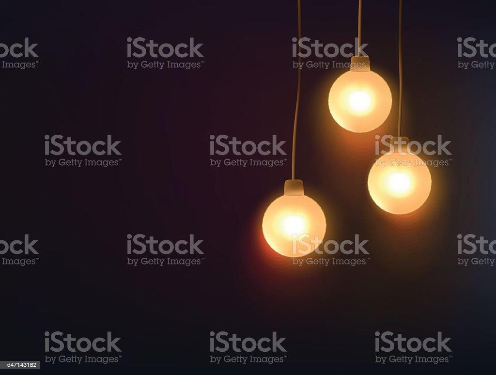 Three decorative light bulbs hanging against dark background vector art illustration