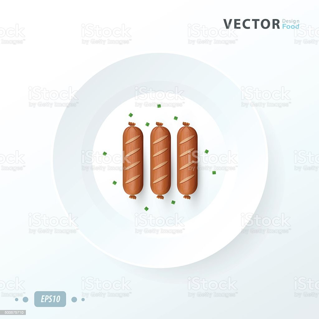 Three delicious wurstel on a white plate over white background vector art illustration