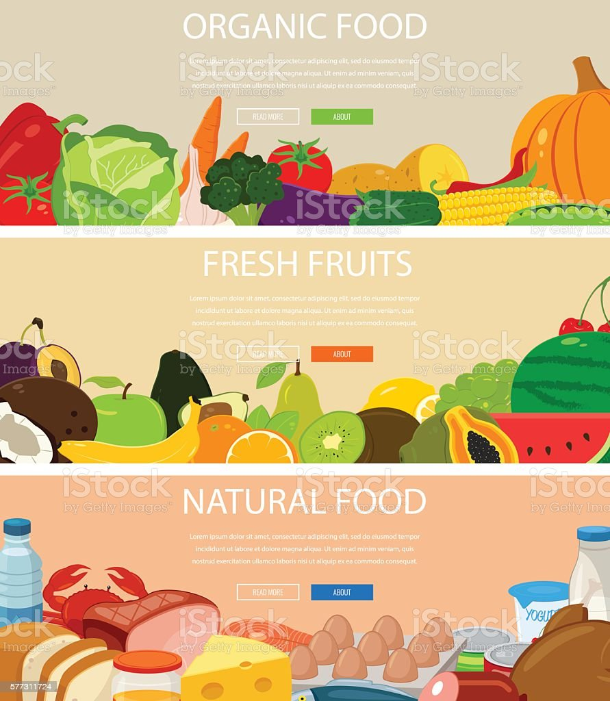 Three design banners set with fresh food. royalty-free stock vector art