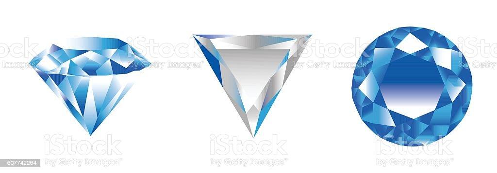 three diamonds vector art illustration