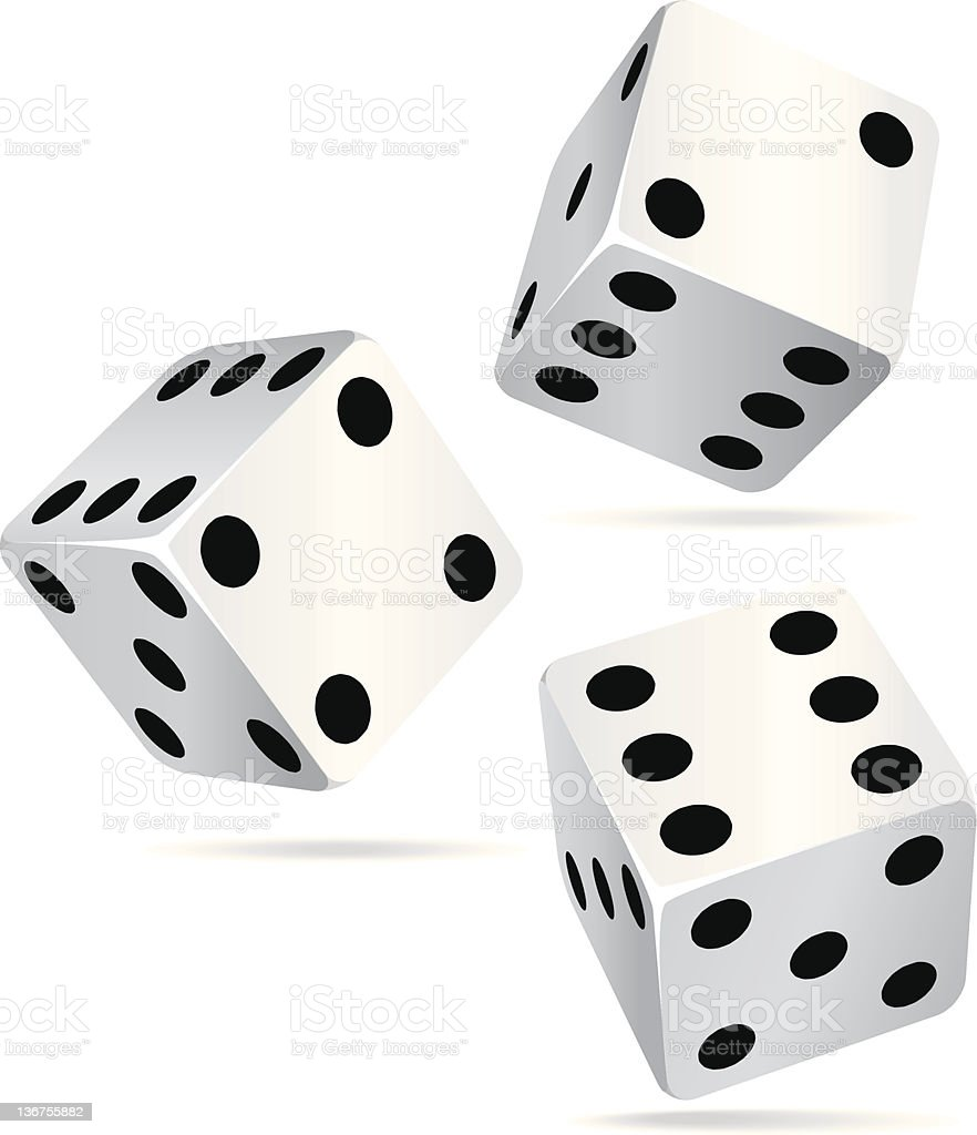 Three dice isolated on a white background vector art illustration