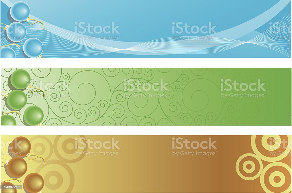 three different Christrmas banners vector art illustration