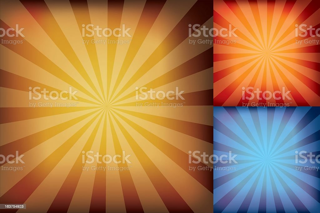 Three Different Color Assortments Starburst Background in Gradient Mesh royalty-free stock vector art