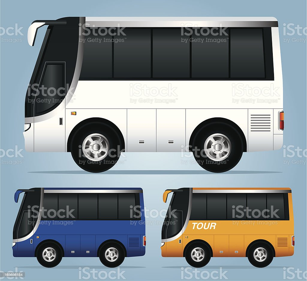 Three different colored tour buses one larger in white royalty-free stock vector art