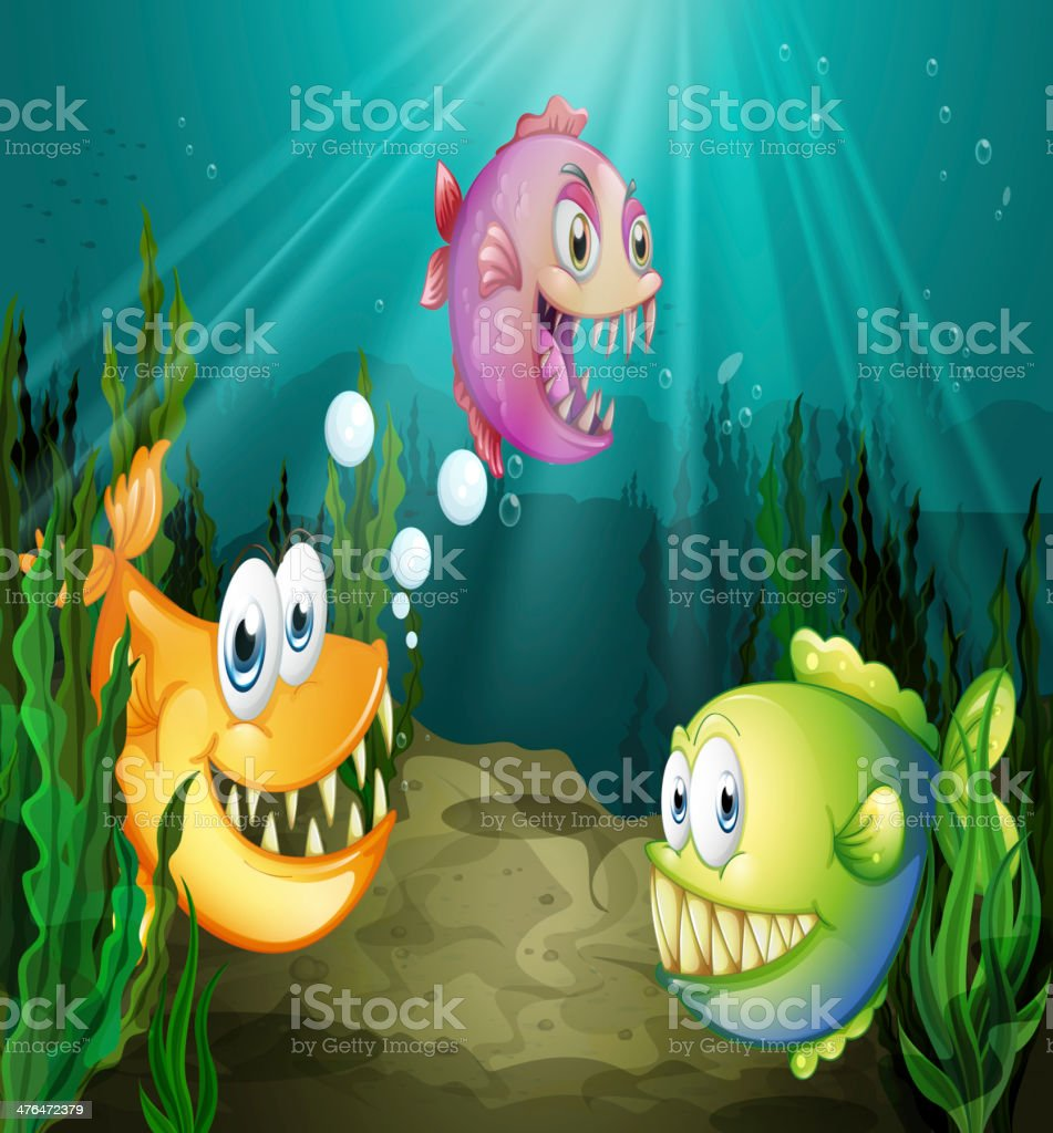Three different fishes with big fangs under the sea royalty-free stock vector art