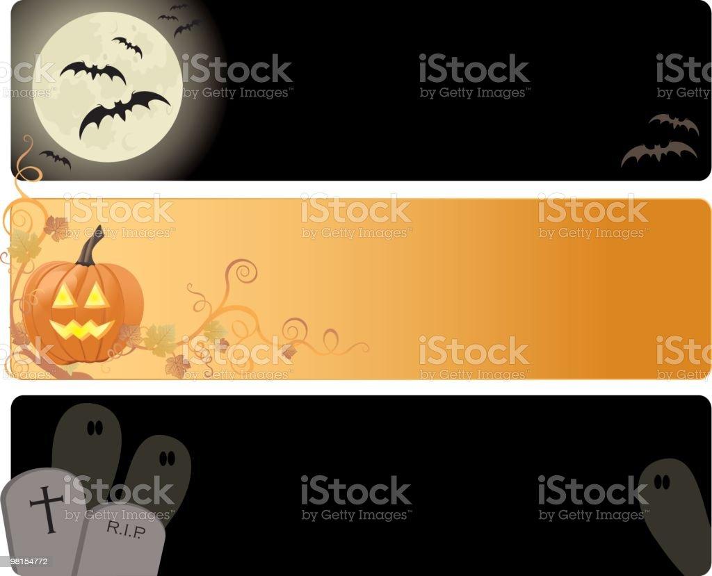 Three different Halloween banners vector art illustration