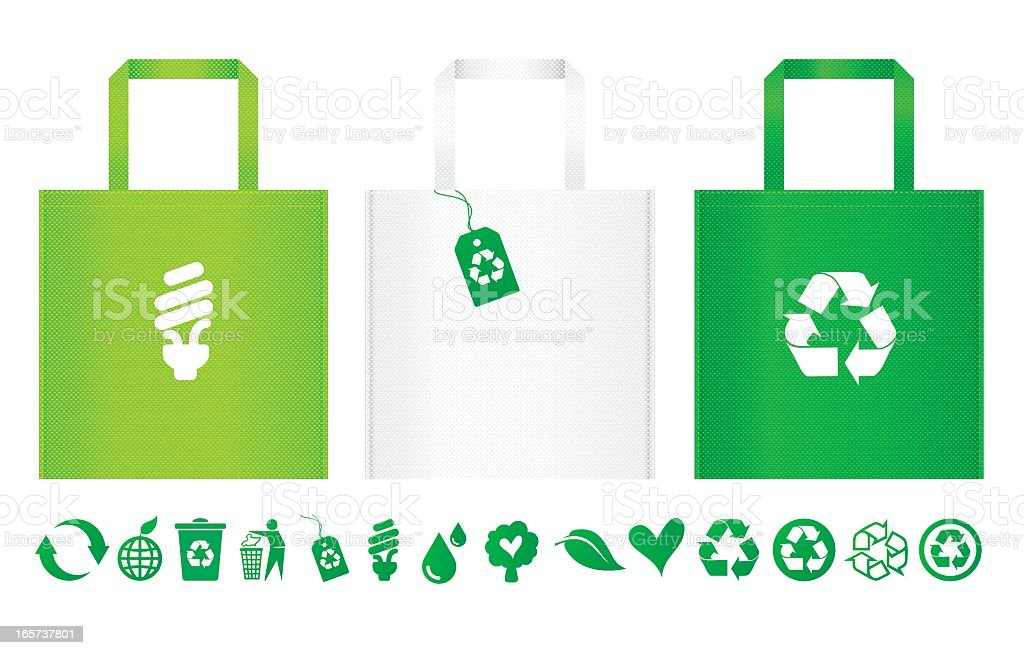 Three different recycle bags with row of recycle icons under vector art illustration