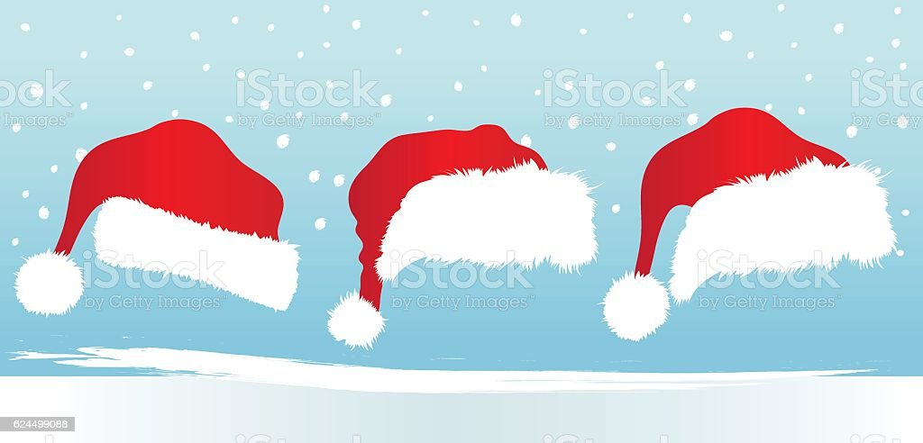 Three Different Santa Hats And Winter Background vector art illustration