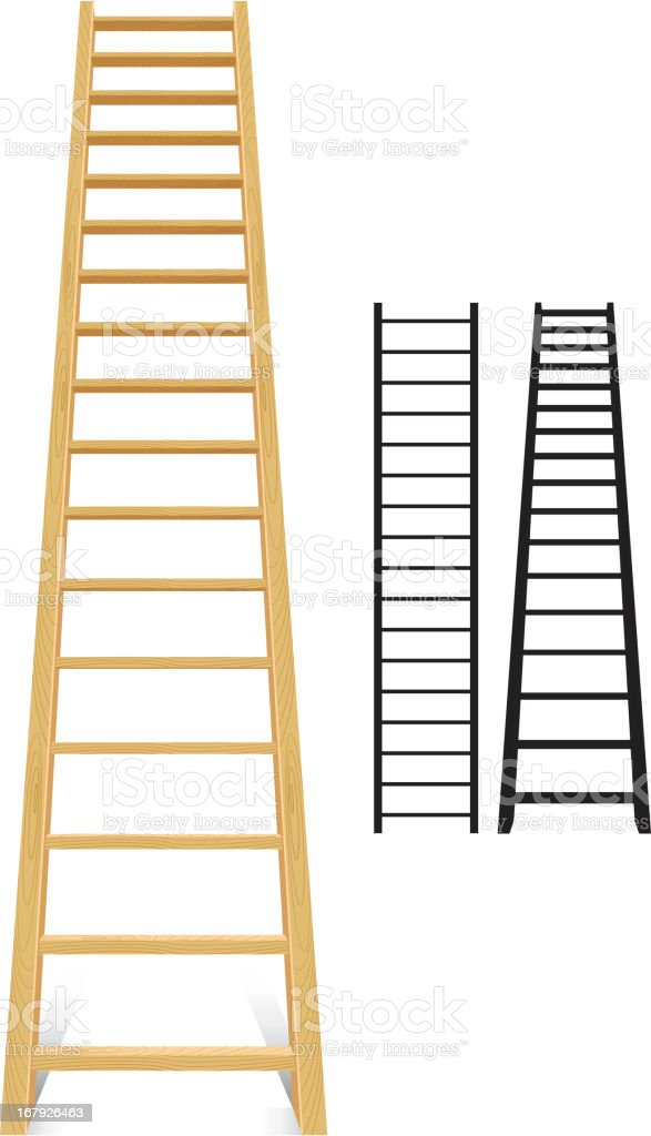 Three different size ladders, 2 black and 1 brown vector art illustration