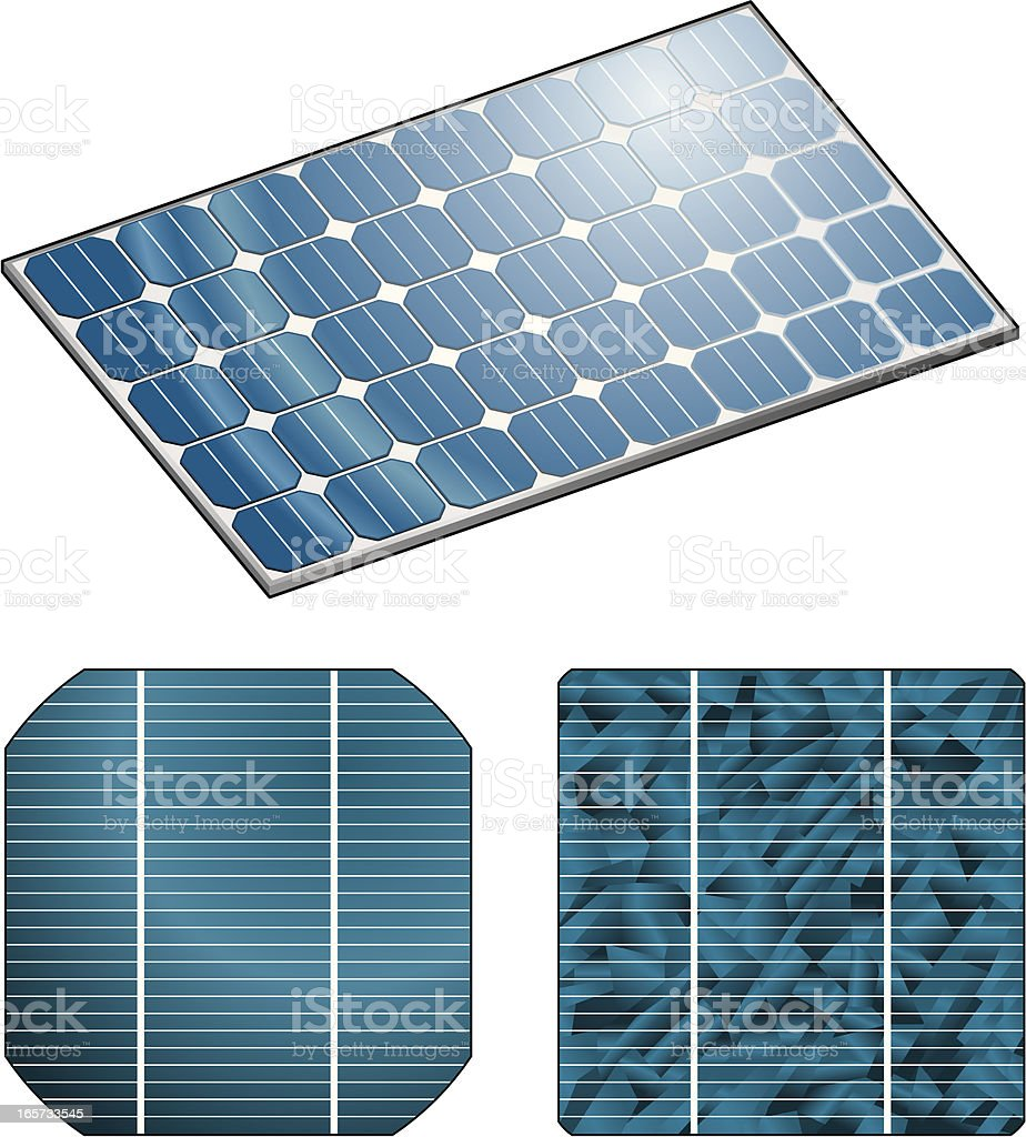 Three different solar panel cells royalty-free stock vector art