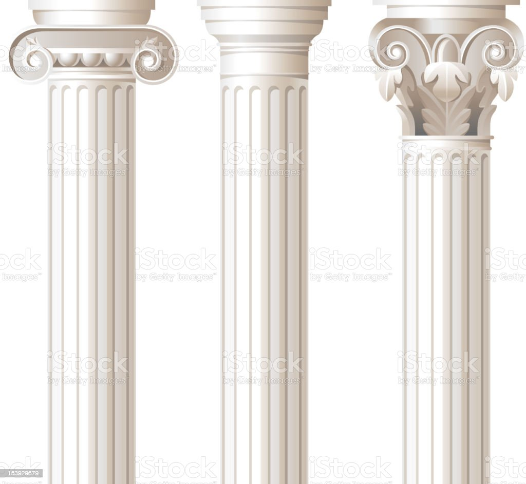Three different style white columns vector art illustration