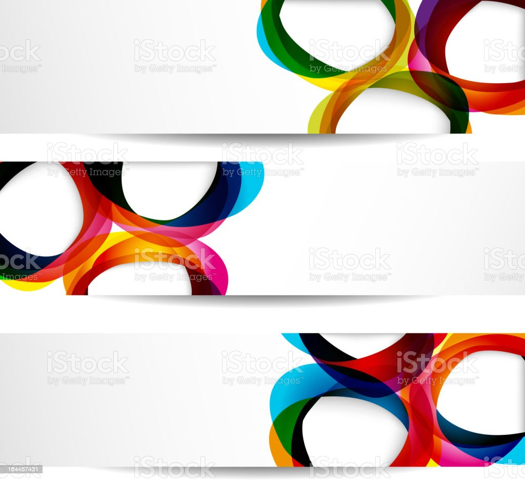 Three different types of banners with colored circles royalty-free stock vector art