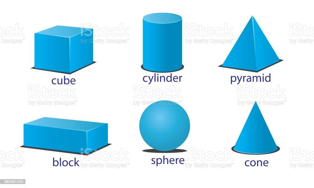 three dimension of shapes vector art illustration