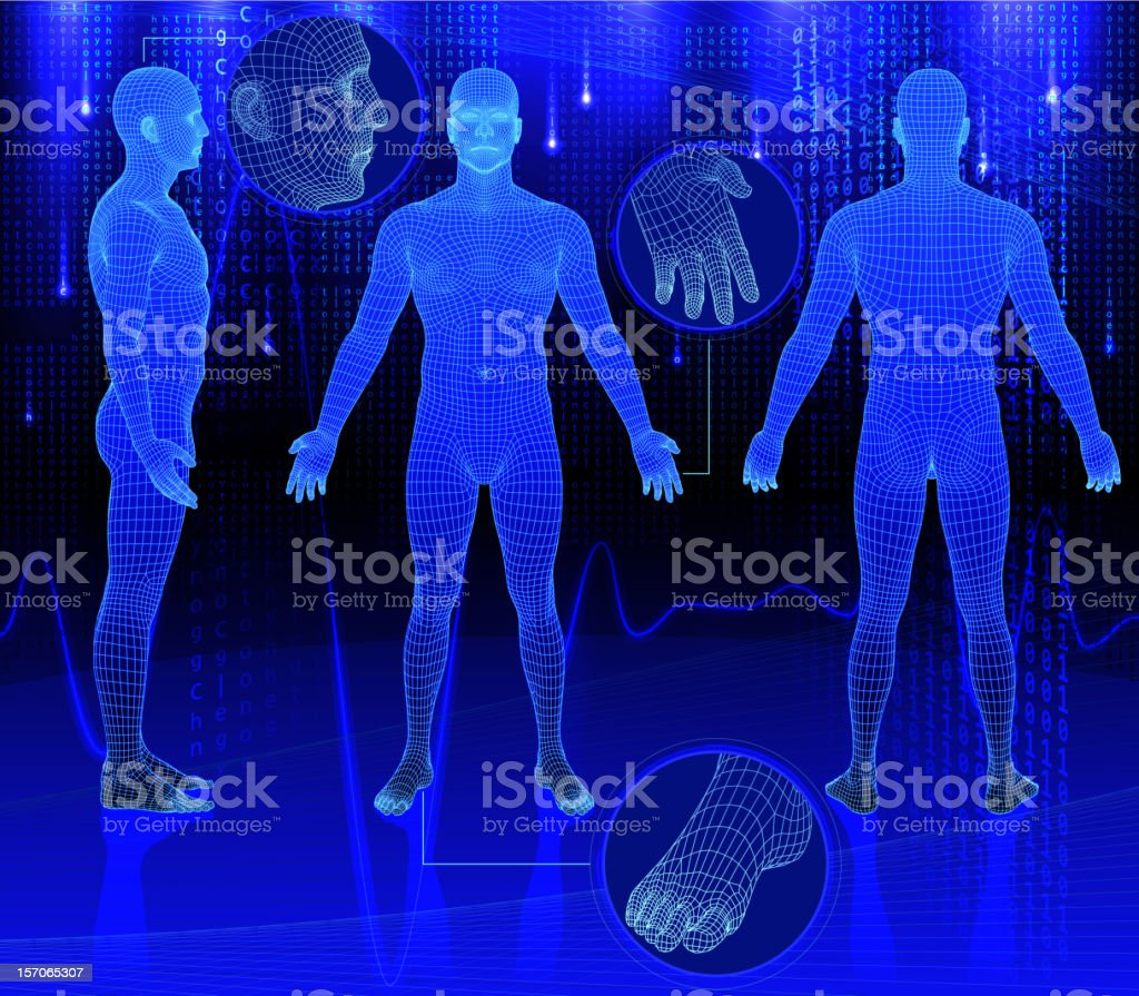 Three dimensional bodies on abstract background vector art illustration