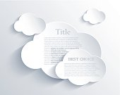 Three dimensional clouds with sample text