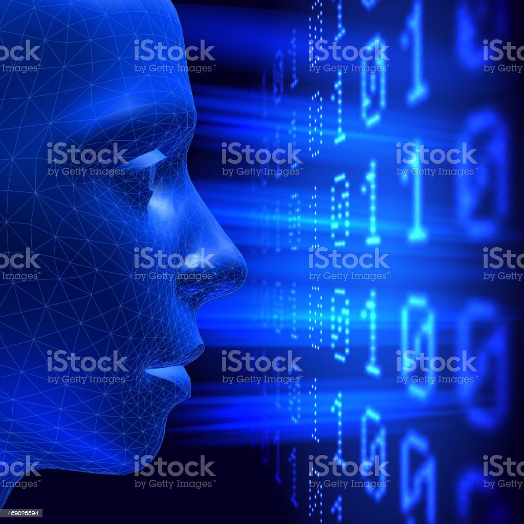 Three dimensional head on abstract background vector art illustration