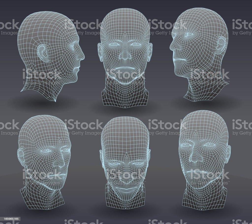 Three dimensional heads vector art illustration