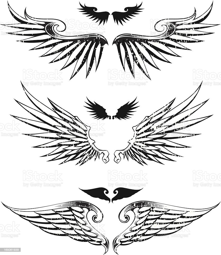 three distressed wings royalty-free stock vector art