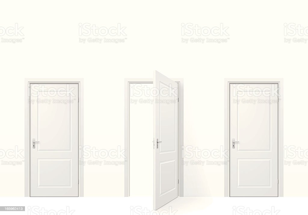 Three doors vector art illustration