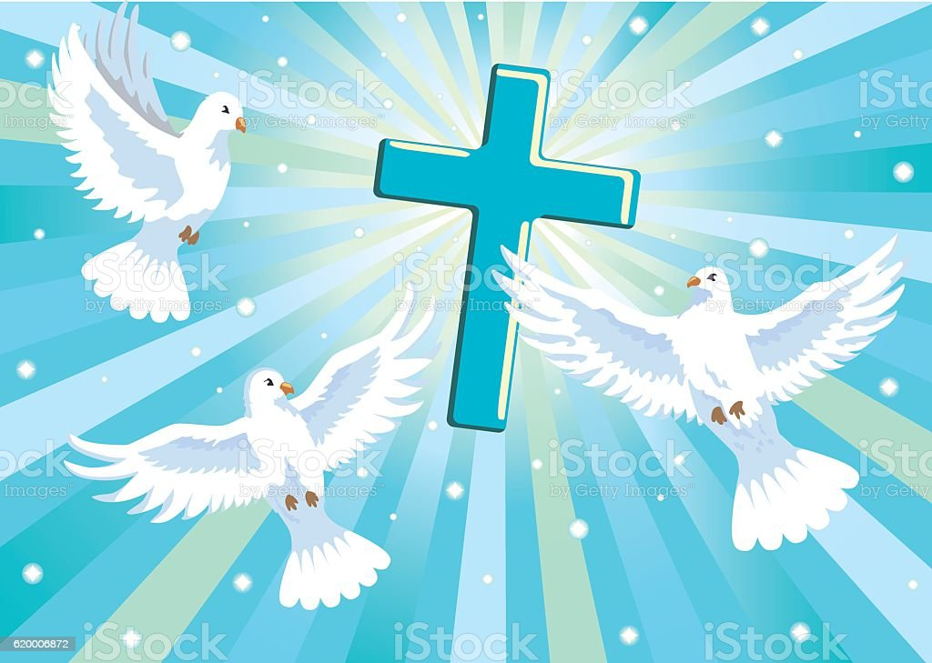 three doves with cross vector art illustration