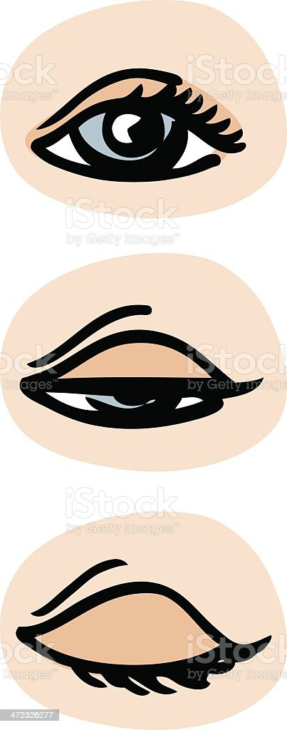 Three drawings of an eye in the process of blinking vector art illustration