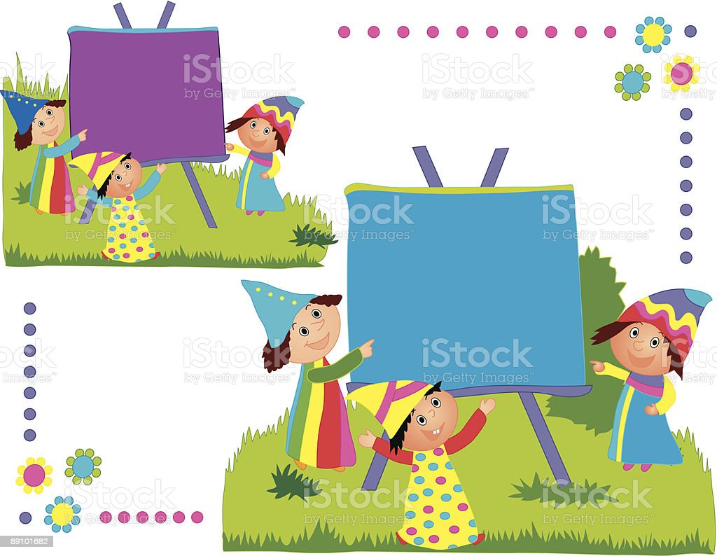 Three dwarfs with a sign royalty-free stock vector art