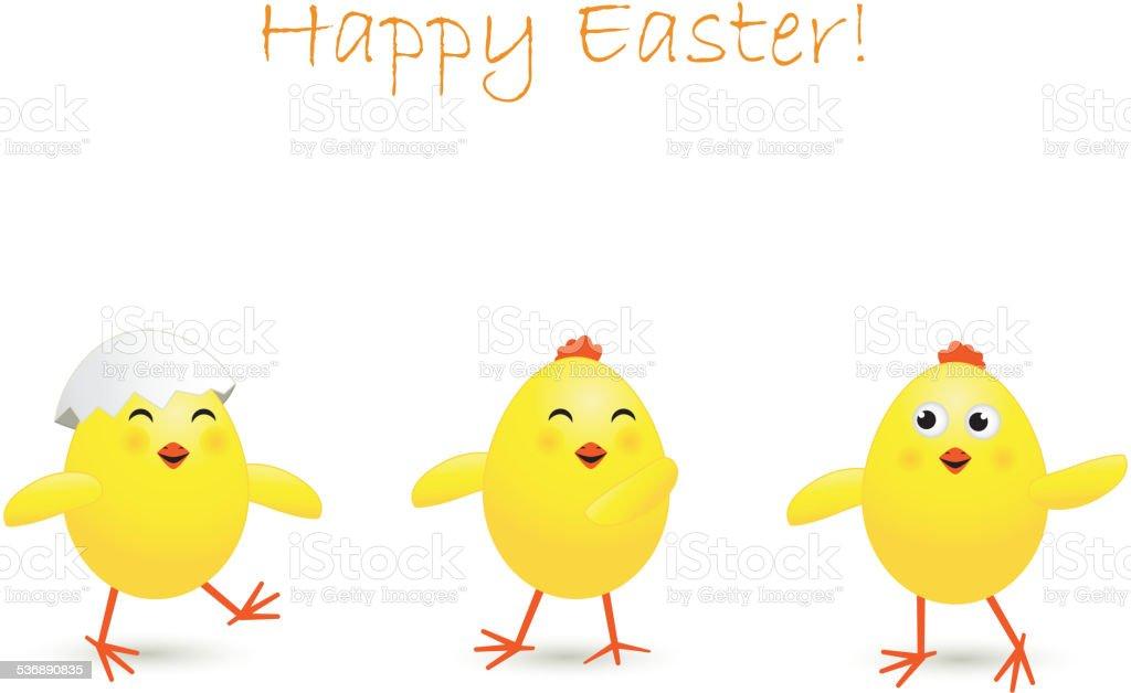 Three Easter chicken vector art illustration