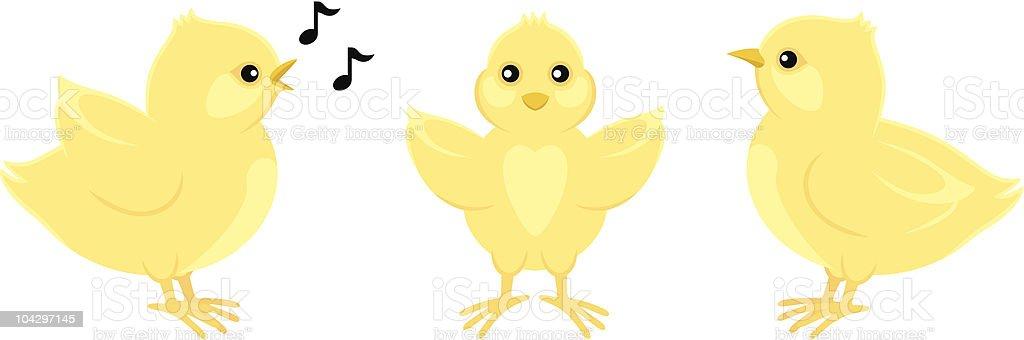 Three Easter Chicks vector art illustration