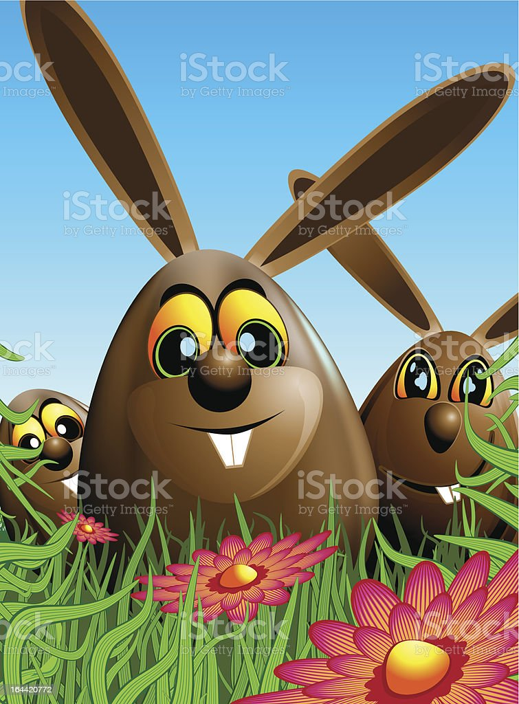 Three Easter eggs hidden in the grass royalty-free stock vector art