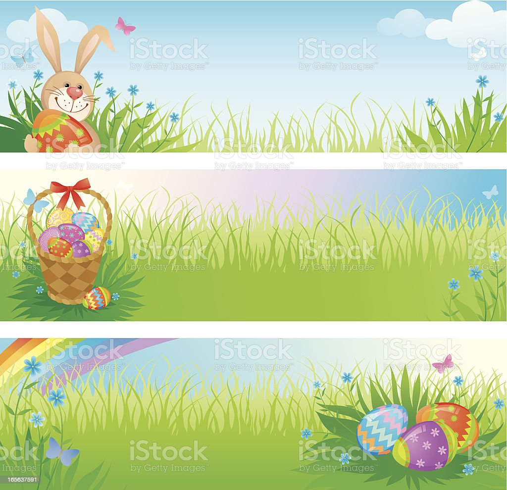 Three Easter Themed Banners with Eggs, Rabbits and Basket royalty-free stock vector art