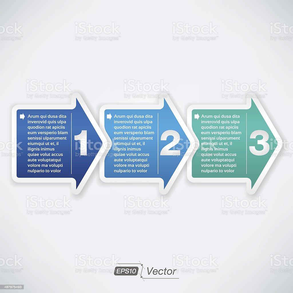 Three easy steps vector art illustration