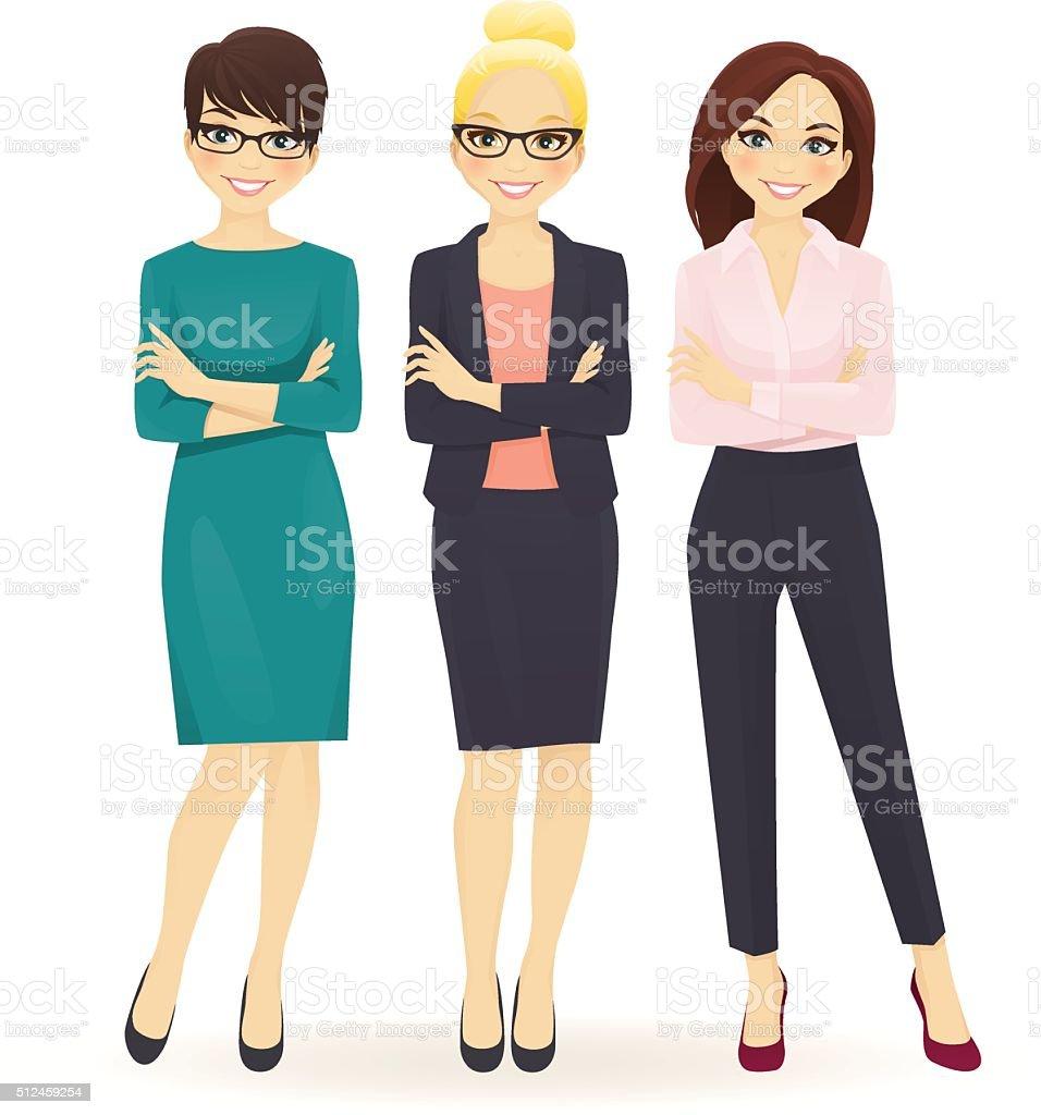 Three elegant business women vector art illustration