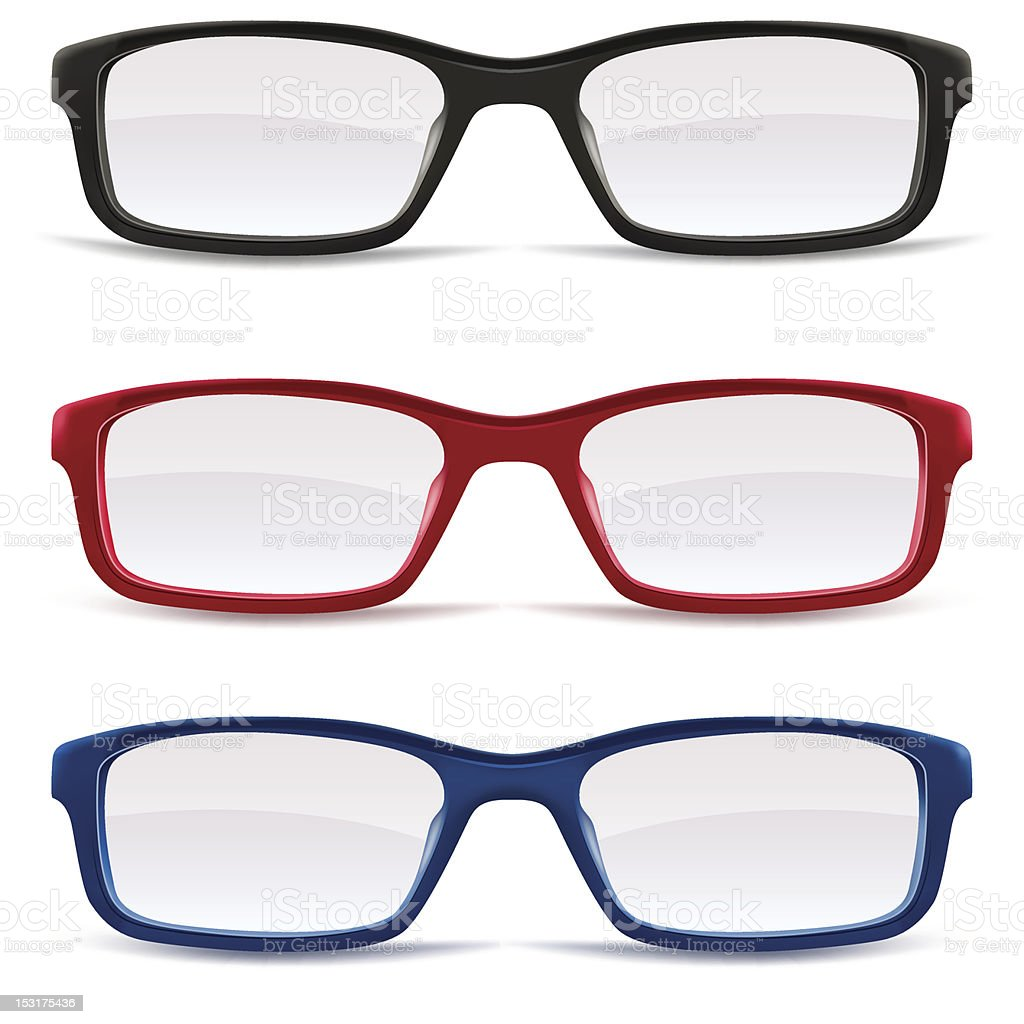 Three eyeglasses in blue, red, and black royalty-free stock vector art