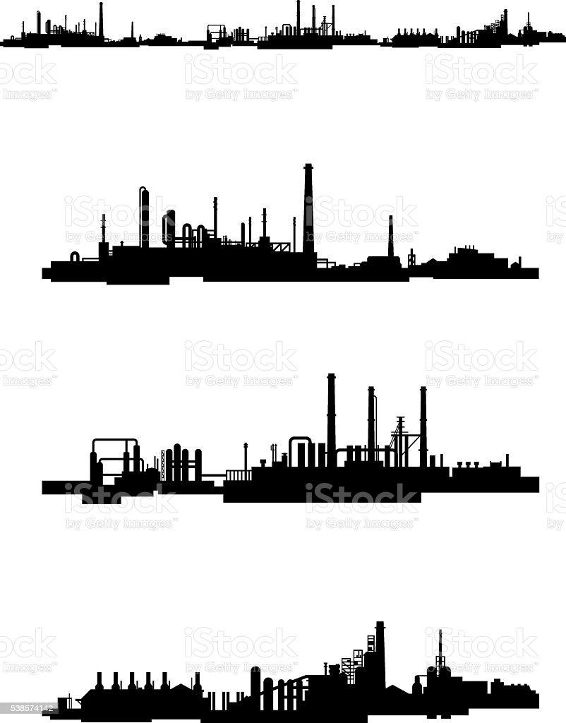 Three factories silhouettes vector art illustration