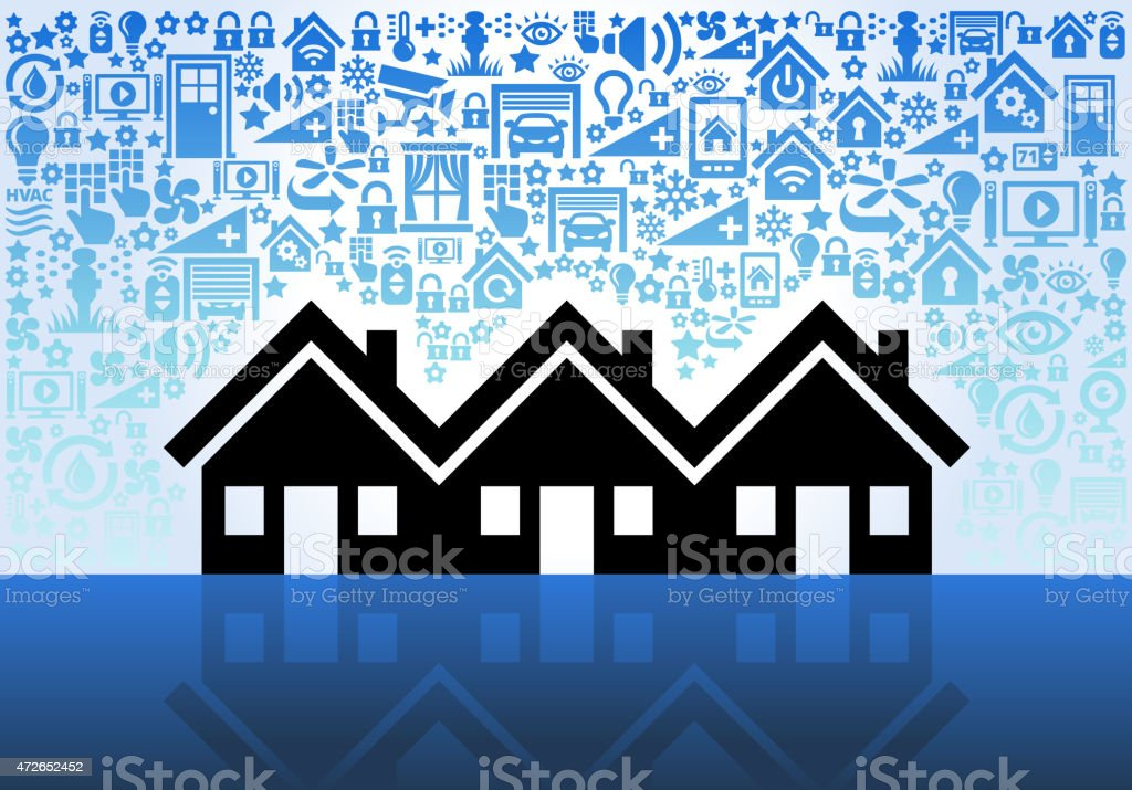 Three Family House on Home Automation and Security Vector Background vector art illustration