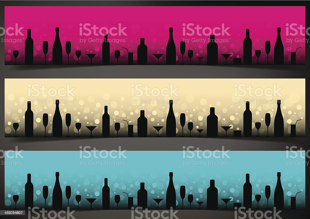 Three festive banners with alcoholic drinks on dark background. vector art illustration