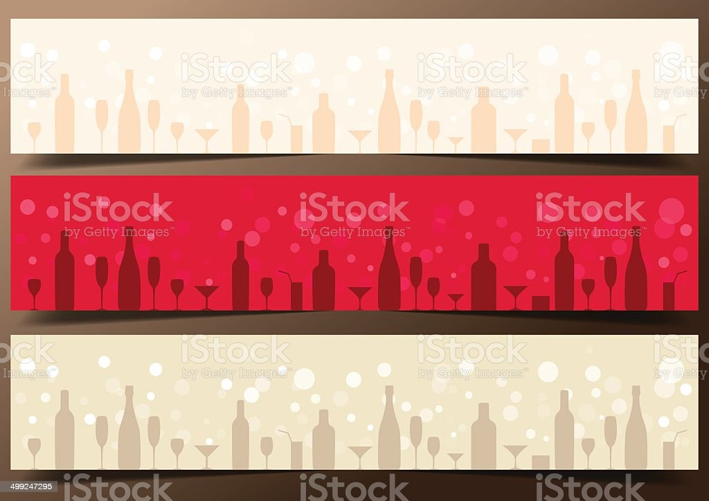 Three festive banners with alcoholic drinks on dark brown background. vector art illustration