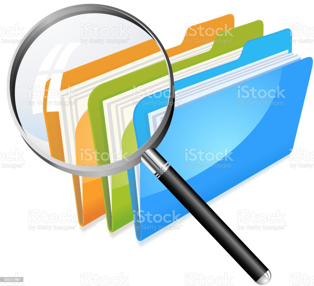Three file folders magnified with a magnifying glass royalty-free stock vector art